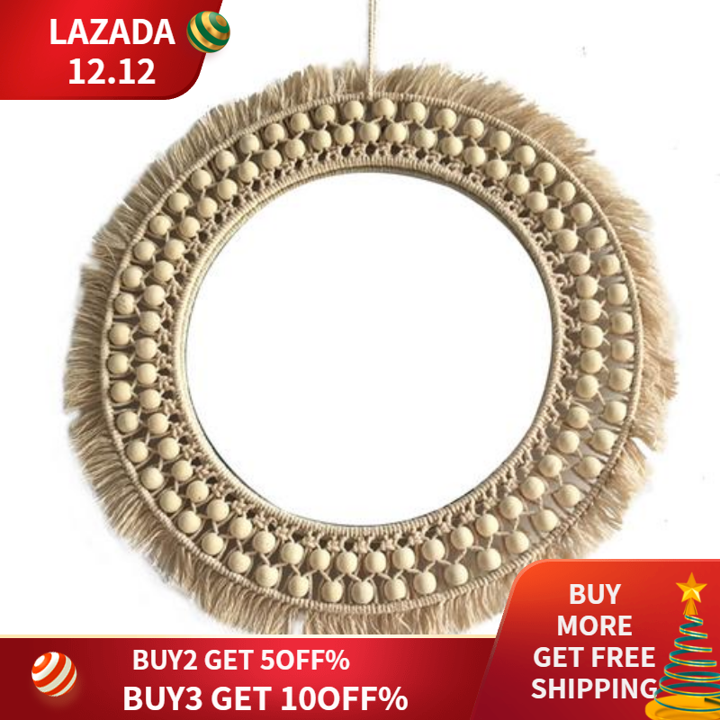 Hanging Wall Mirror with Macrame Handmade Home Decoration Living Room Bedroom