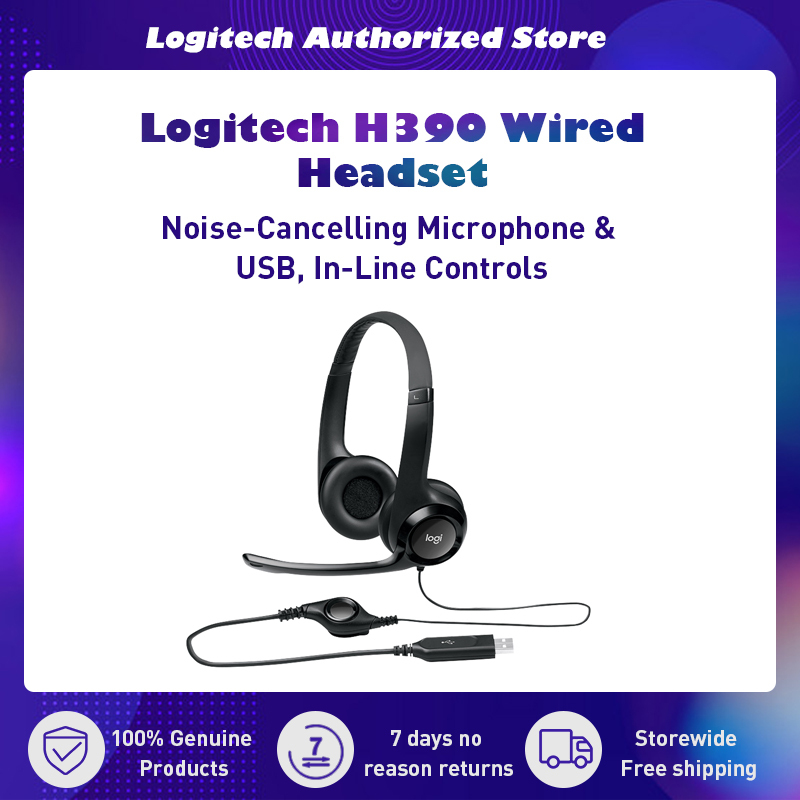 Logitech H390 USB Headset with Noise-Cancelling Microphone Padded Headband Singapore