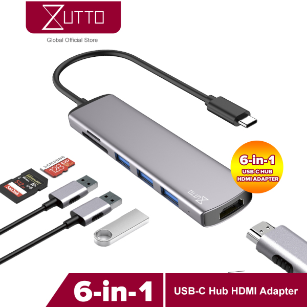 Zutto MFA-01 USB C Hub, 6 in 1 Multi-Function Dongle Adapter Fast Speed, USB C to HDMI 4K, SD/TF Card Reader and 3 USB 3.0 Ports for MacBook Pro, Google Chromebook, Samsung Galaxy S8/S9 and Other USB C Devices