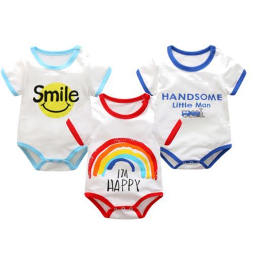 239017780 New Newborn Baby Kid Toddler Casual Short Sleeve 100% Cotton Romper  Jumpsuit Bodysuit