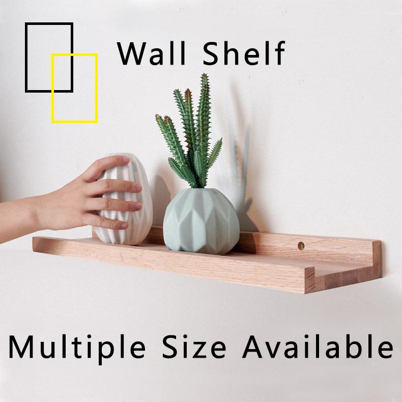 Wall Shelf Storage Organizer Decoration Living Bed Room Space Saver Partition Wood Walnut Coffee Table Zen Design Hanging Bookshelf Flowerpot [2 Weeks Delivery]