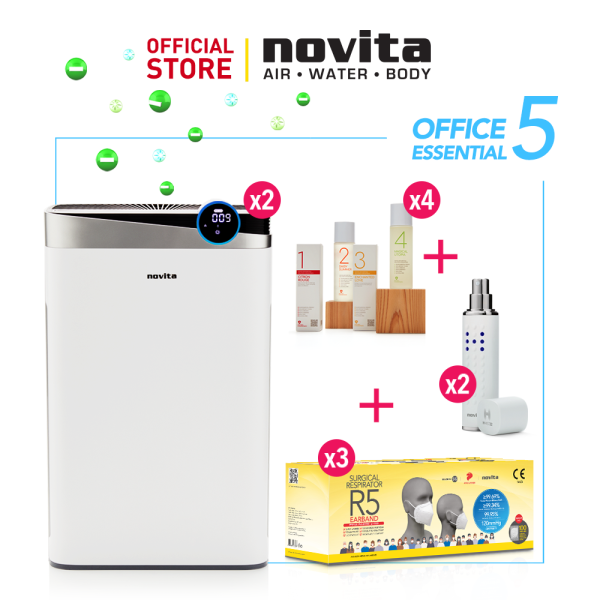 novita Office Essential Package 5 (4-in-1 Air Purifier A4S x 2 + Air Purifying Solution Concentrate x 4 + Surgical Respirator R5 (100pcs in a box) x 3 +Portable Disinfectant H-Mist22 x 2 Singapore