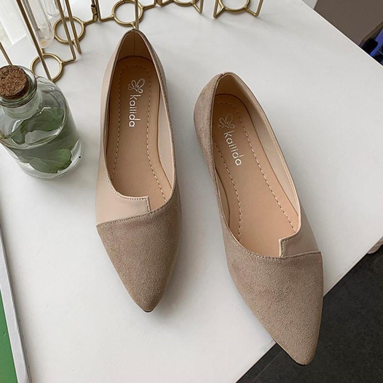 Giày Nữ Thời Trang Mới Mùa Hè Phụ Nữ Nối Màu Căn Hộ Thời Trang Mũi Nhọn Ballerina Ba Lê Giày Đế Bằng giá rẻ