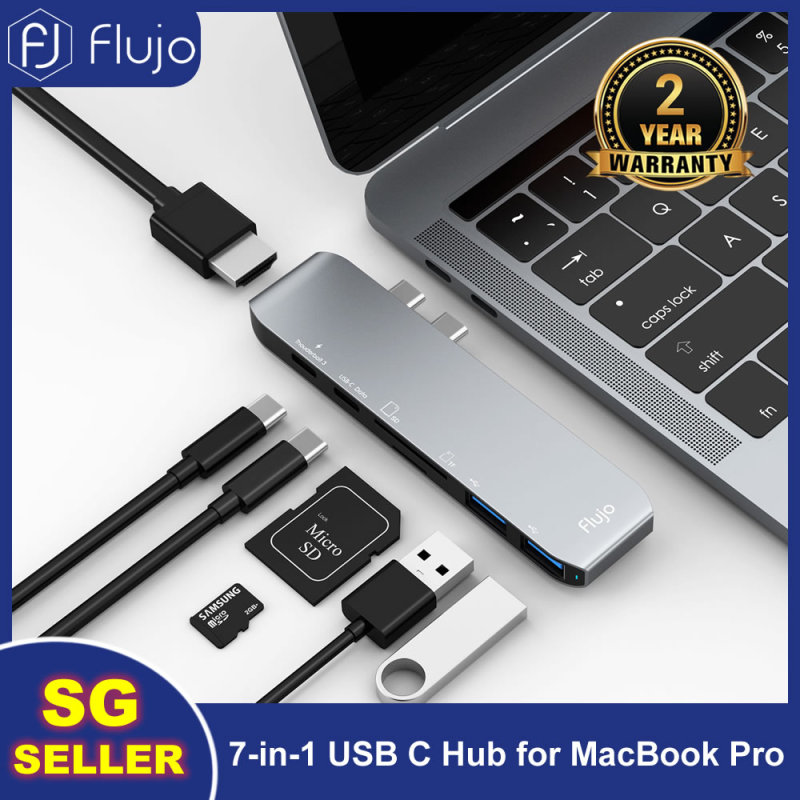 Flujo CH-32 USB C Multi-Function 7 in 1 Hub Adapter for 2017/2018/2019 MacBook Pro, Type C to 4K HDMI,Thunderbolt 3 (40Gbps), Type c Port, SD/Micro Card Reader, 2 USB 3.0 Ports Hub Adapter  (Space Grey)