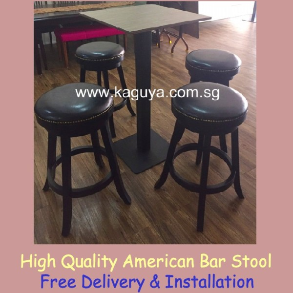 Swivel Bar Stool / Wooden Bar Chair / Black Wooden Stool / Free Delivery & Assembly / Swivel High Stool Wood Bar Stool with Nail Head Trim Cushion Seat Black Cafe Furniture