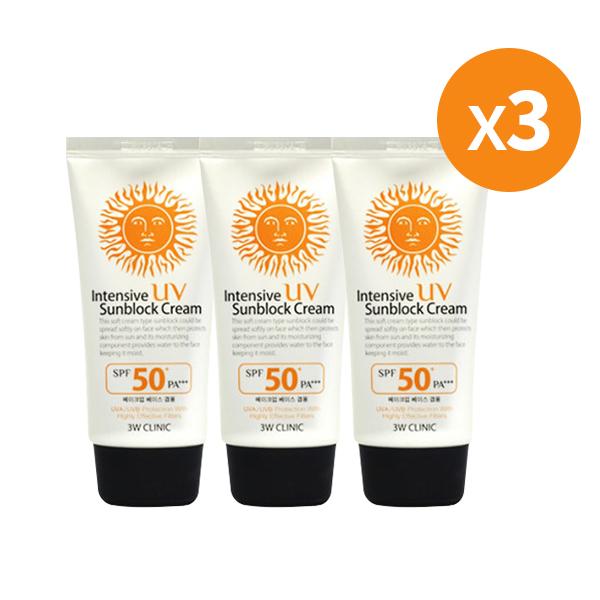 Buy [1+1+1] 3W Clinic Intensive UV Sunblock Cream SPF50+++ Singapore