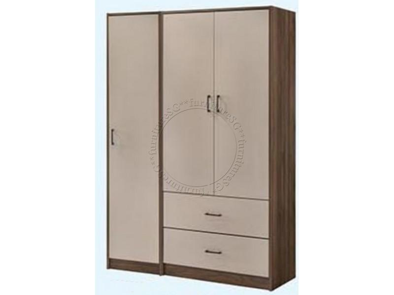 (FurnitureSG) 2 tone Colour 3 Door Wardrobe