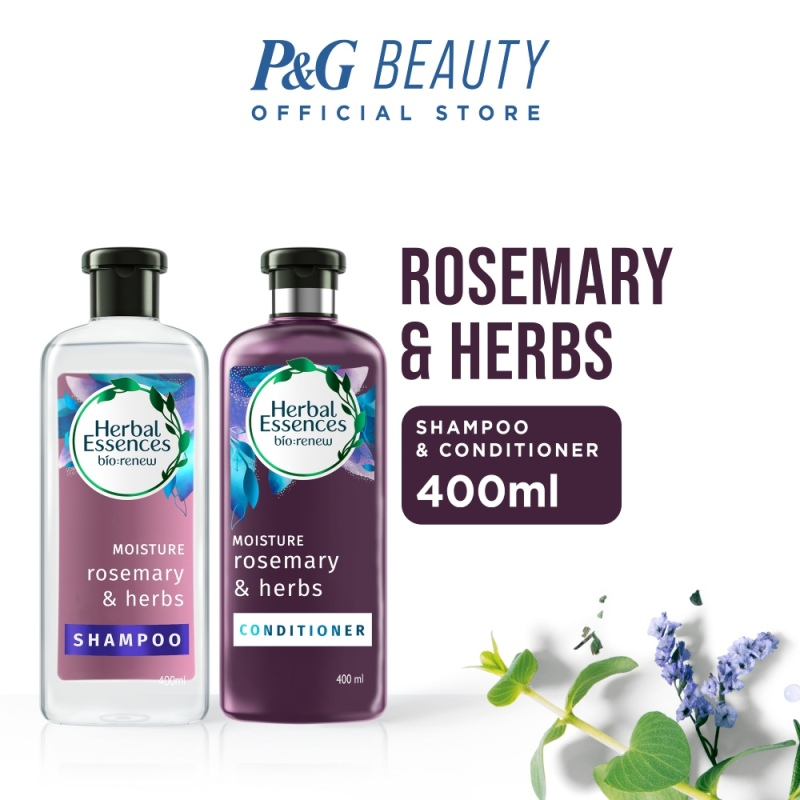 Buy [Bundle of 2] Herbal Essences Moisture Rosemary & Herbs Shampoo 400ml + Conditioner 400ml Singapore