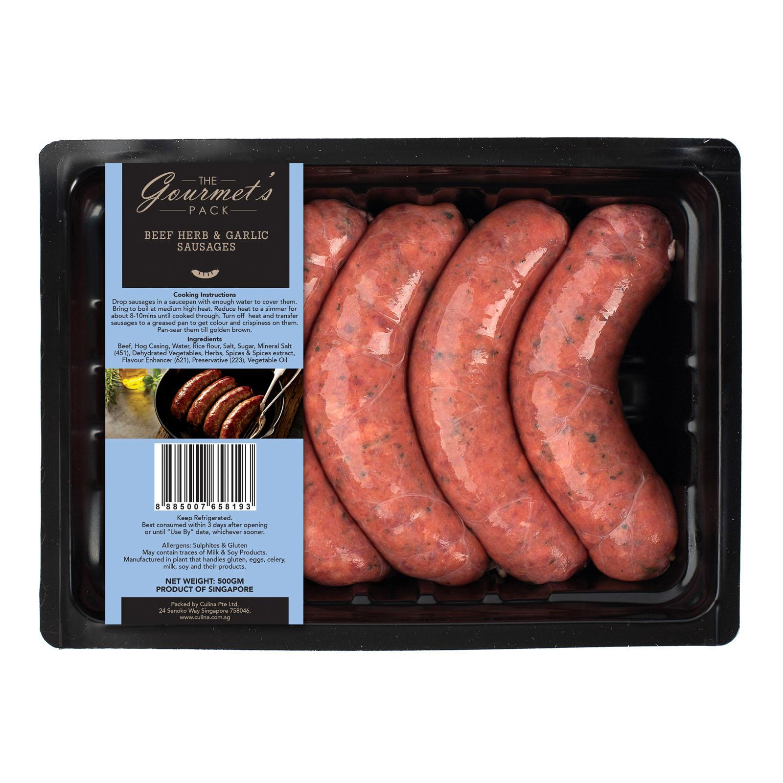 The Gourmet's Pack Beef Herb And Garlic Sausages Thick 5s Per Pack