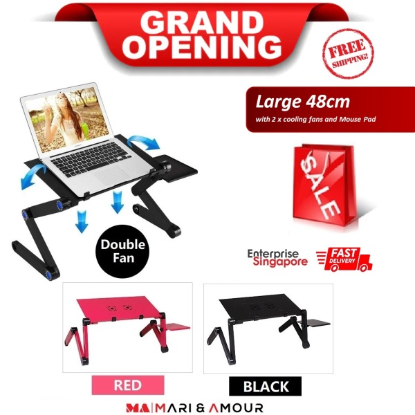 ★ Foldable Laptop Desk, 360° Adjustable Office Stand-up Stand, Adjustable Reading Holder, Ergonomic Laptop Bed Table, Notebook Couch Desk, Portable Notebook Workstation Sofa Lap Tray Stand vented with 2 CPU Cooling Fans and Mouse Pad ★SG Ready Stock★