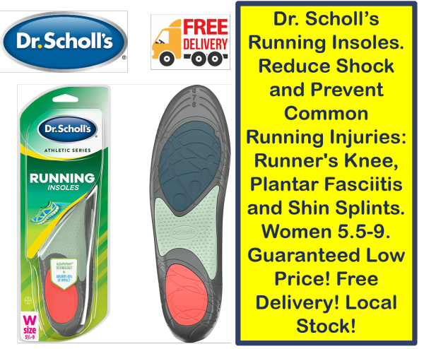 Buy Dr. Scholl's Running Insoles. Reduce Shock and Prevent Common Running Injuries Runners Knee, Plantar Fasciitis and Shin Splints. Women 5.5-9. Guaranteed Low Price! Free Delivery! Local Stock! Singapore