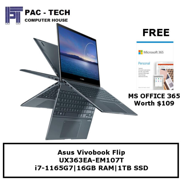 [Free Microsoft Office] Asus Zenbook Flip UX363EA-EM107T | i7-1165G7 | 16GB RAM | 1TB SSD | 360 Flip Touchscreen | Windows 10 Home
