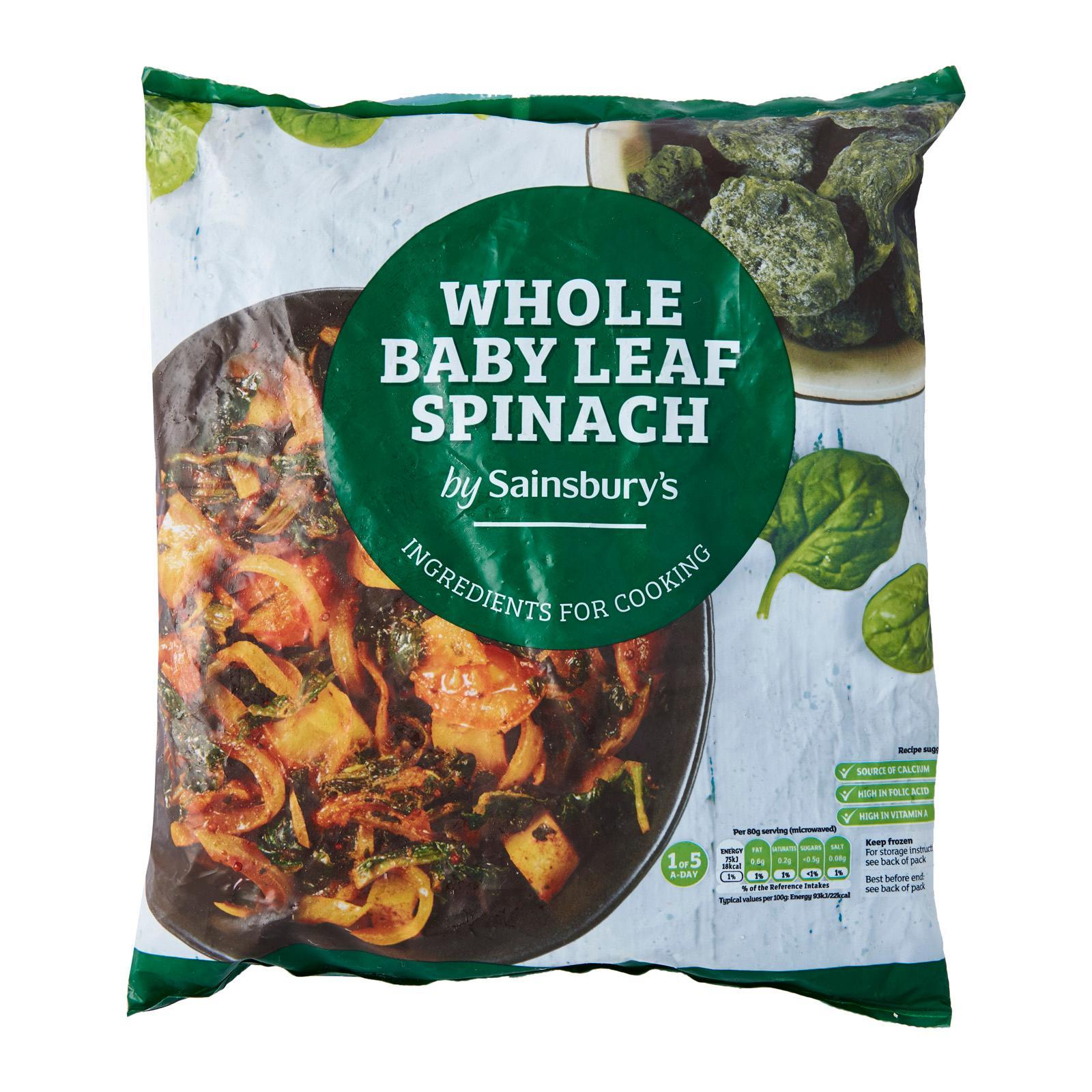 Sainsbury's Baby Whole Leaf Spinach - Frozen