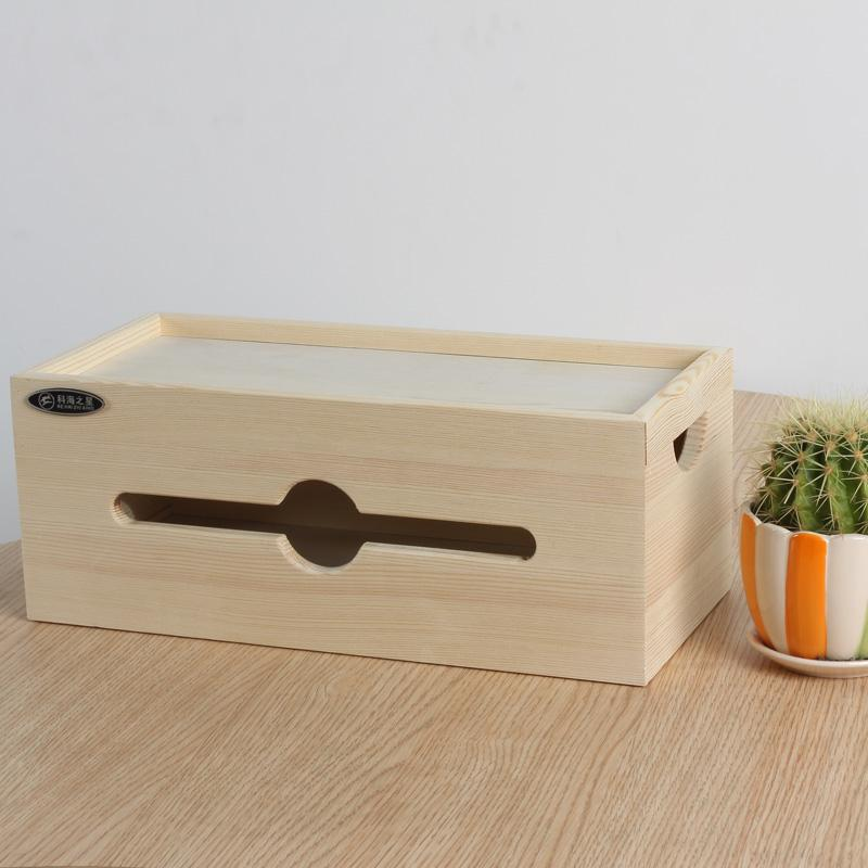 Electric Wire Storage Box Patch Board Computer Cable Finishing Box Double-Sided with Lid Cable Box Solid Wood Socket Storage Box