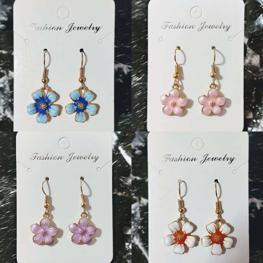 [4pcs $6] [8pcs $8] Sakura Cherry Blossom Orchid Flower Gold Plate Elegant Cute Korea Style Fashion Dangle Hanger Drop Earrings E007.
