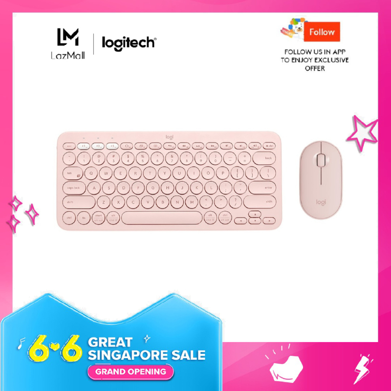 Logitech K380 Slim Multi-Device Bluetooth Keyboard + M350 Pebble Mouse Minimalist Bundle Singapore