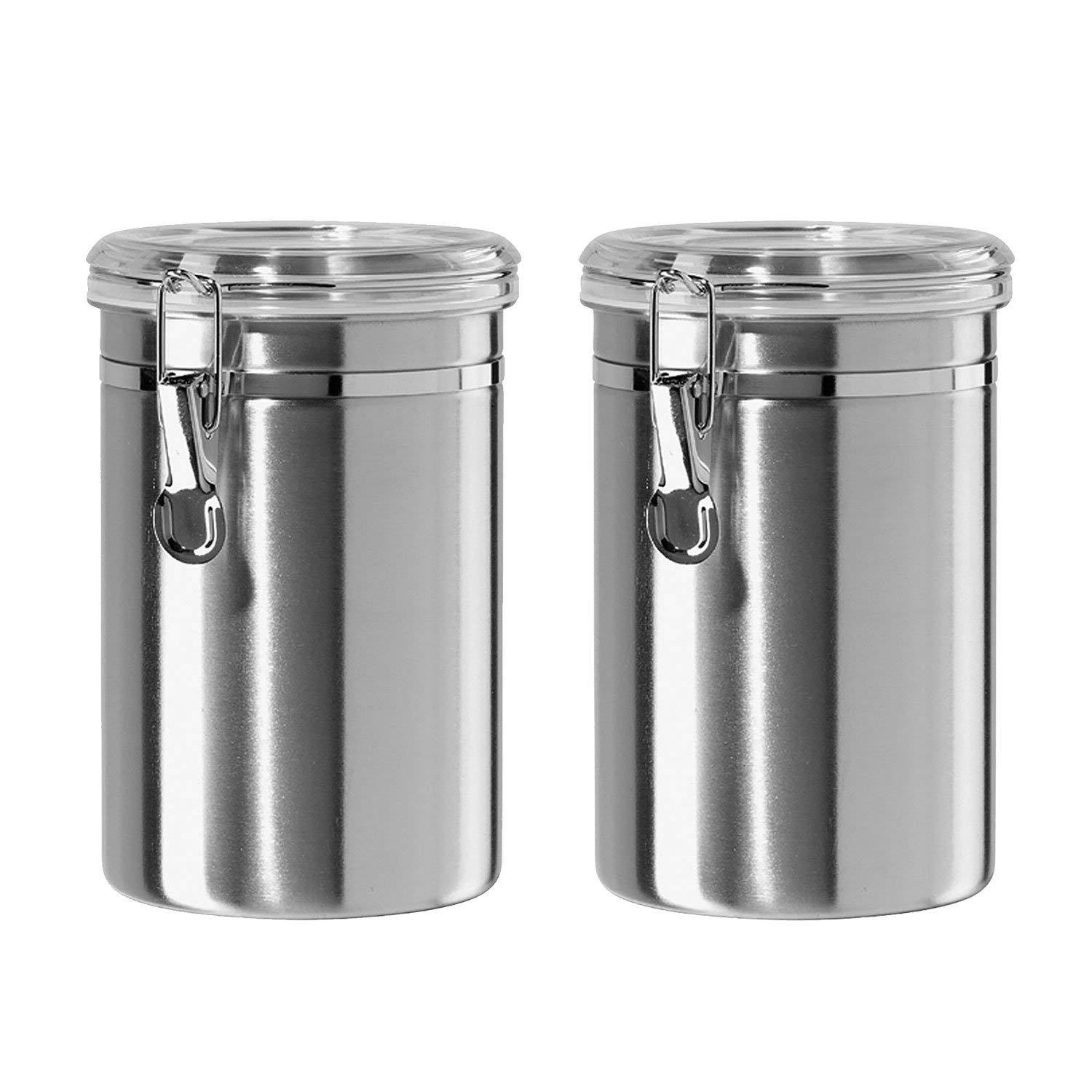 Airtight Canisters Sets for the Kitchen Stainless Steel - Beautiful for  Kitchen Counter, Small 32oz, Food Storage Container, Tea Coffee Sugar