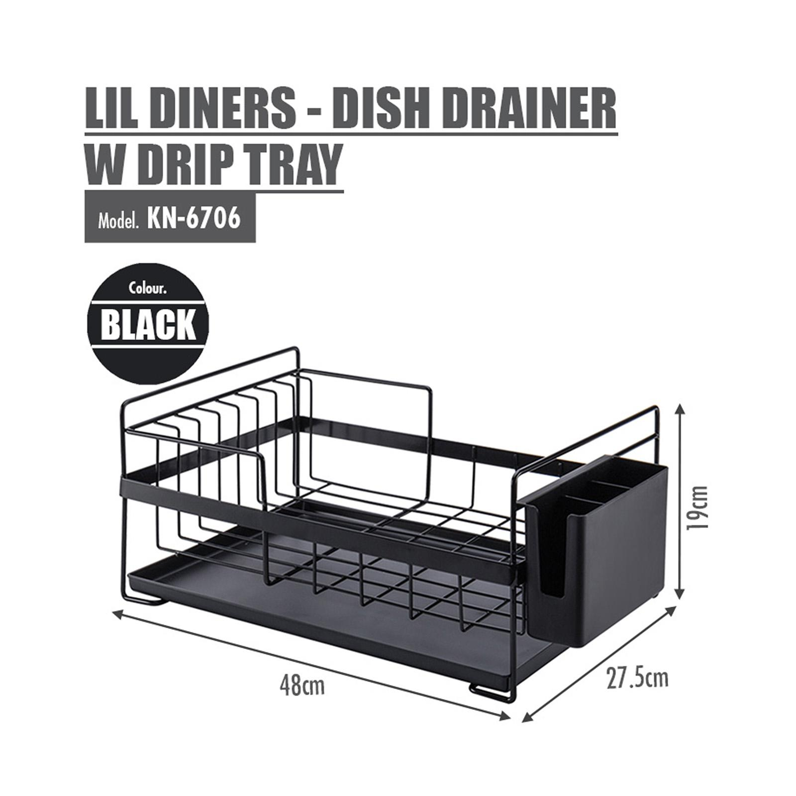 HOUZE Lil Diners - Dish Drainer With Drip Tray (Black)