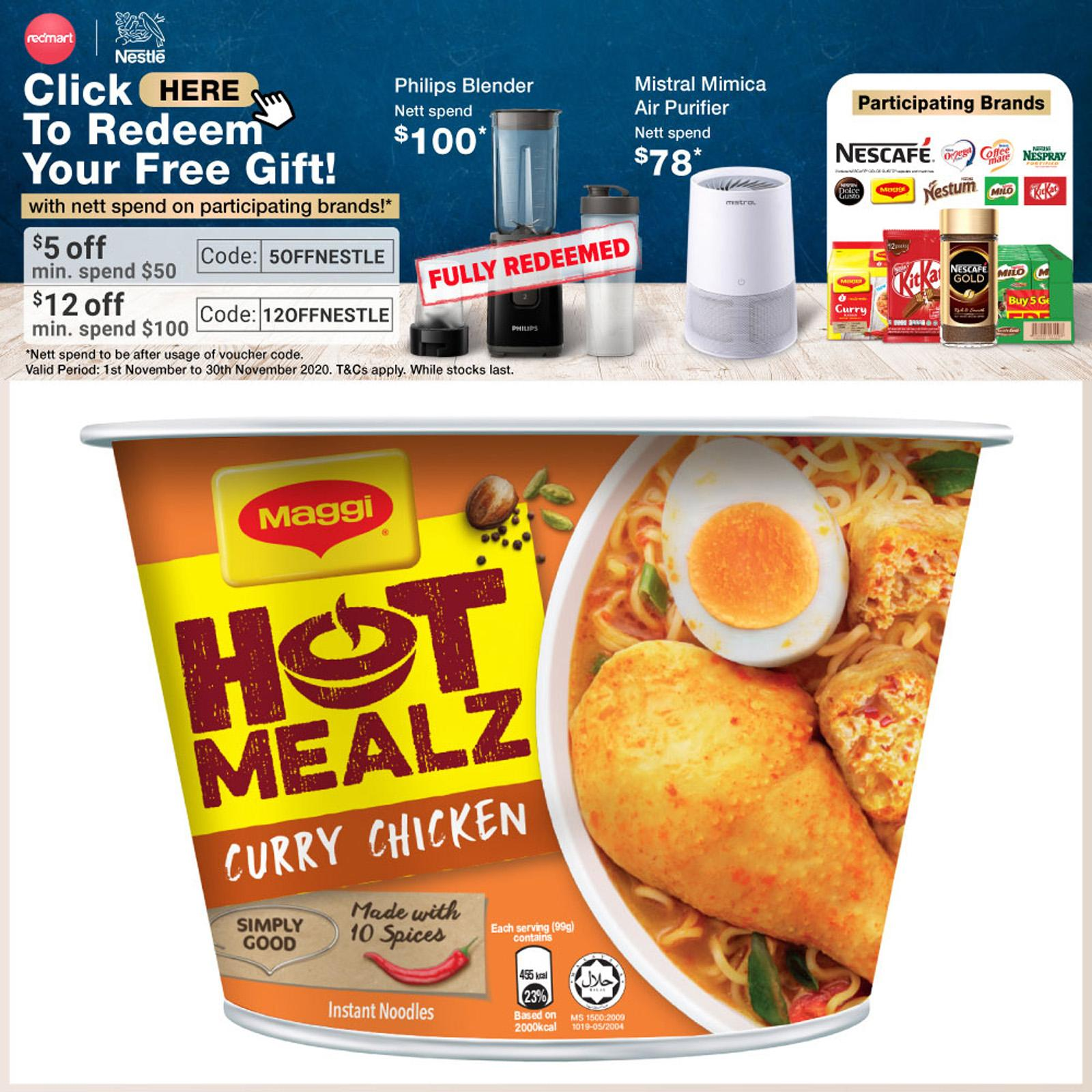 Maggi Hot Mealz Instant Bowl Noodles - Curry Chicken