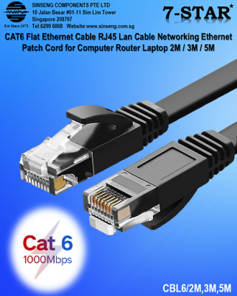 CAT6 Flat Ethernet Cable RJ45 Lan Cable Networking Ethernet Patch Cord for Computer Router Laptop 2M / 3M / 5M