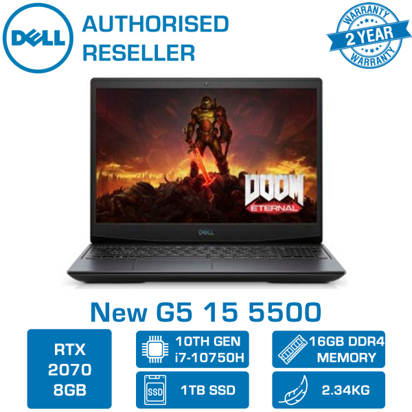 DELL New G5 15 5500 Gaming Laptop 5500-107118GL | 15.6 FHD 300nits WVA Anti-glare Display | Intel Core i7-10750H | 16GB DDR4 RAM | 1TB M.2 NVMe SSD | RTX 2070 8GB GDDR6 | 2yr Premium Support + 1yr Lojack | WIN 10 Home