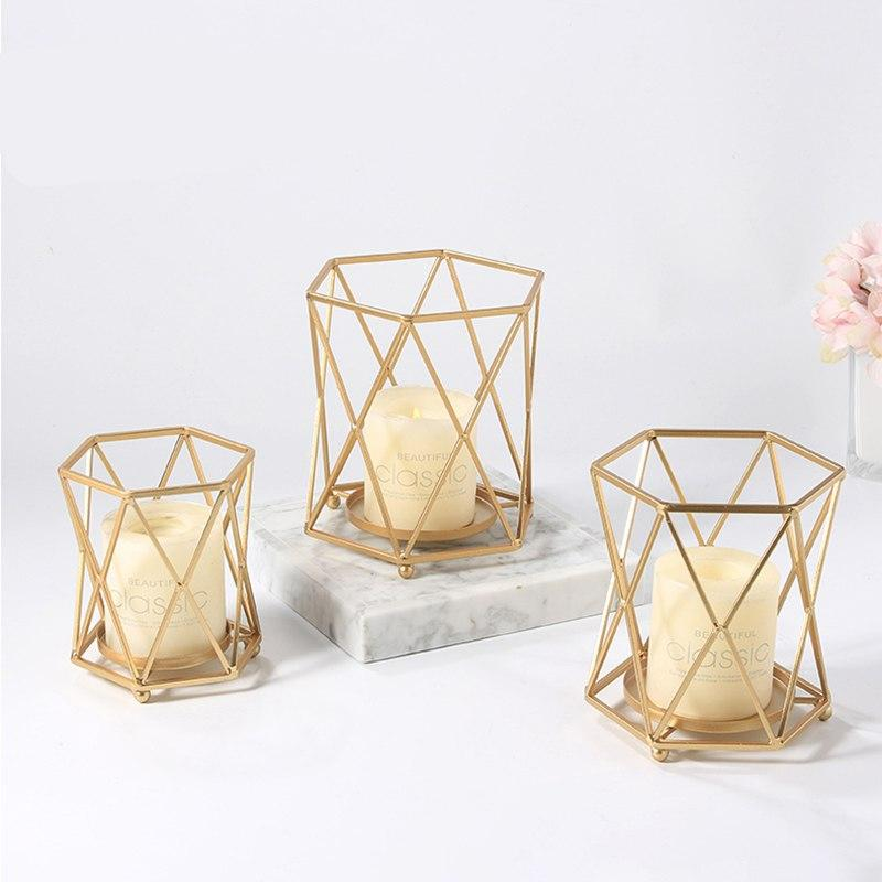 European Creative Geometric Candle Holders Iron Candlestick Wedding Decoration Candle Stand Nordic Simplicity Gold Candle Holder