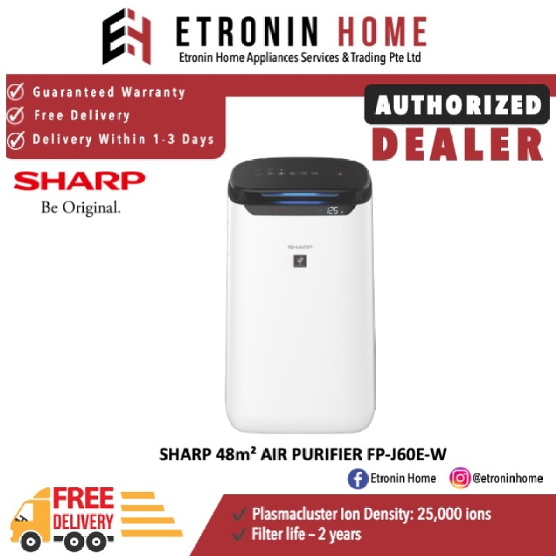 SHARP 48m² AIR PURIFIER FP-J60E-W Singapore