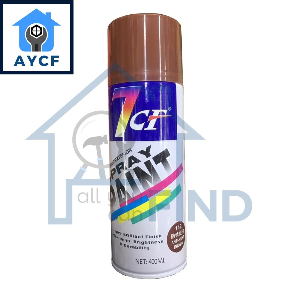 (BUNDLE OF 12) 7CF Interior / Exterior Spray Paint 400ml - Anti-Rust Brown