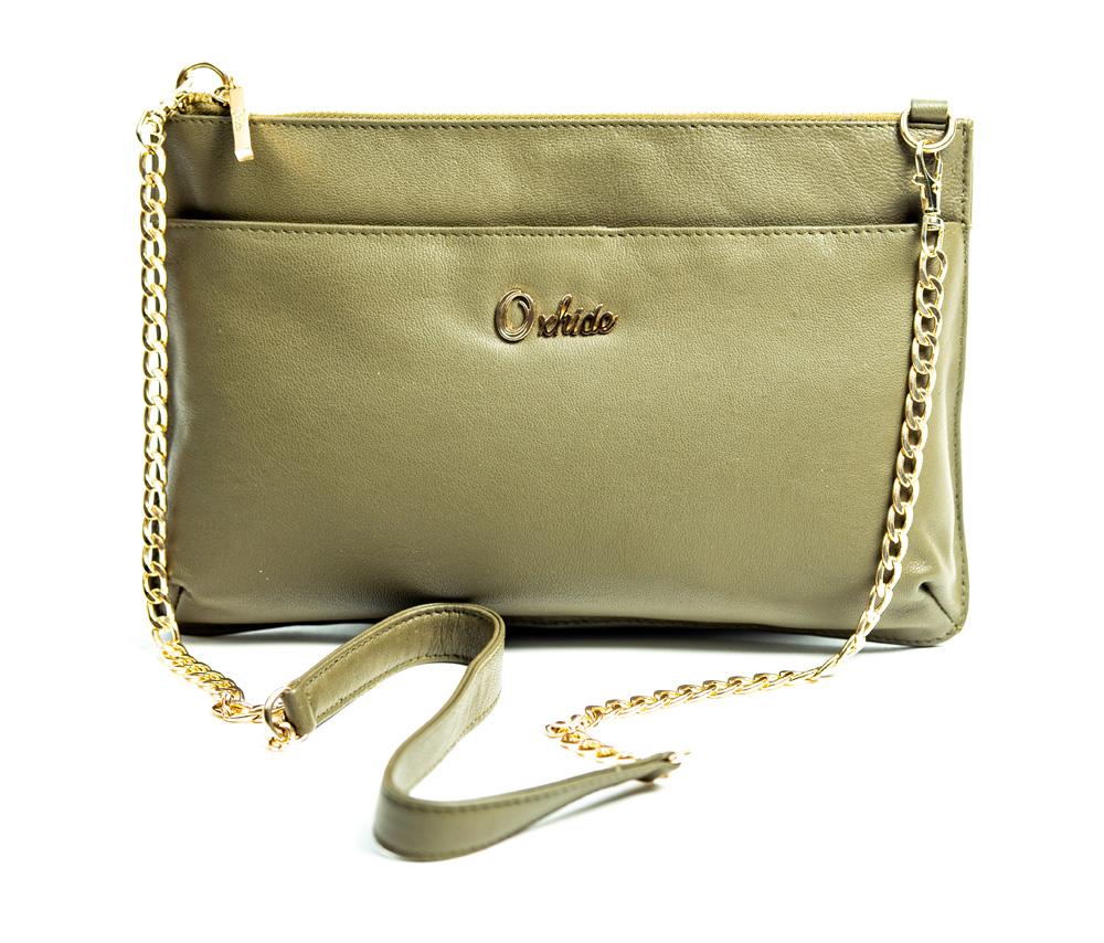 Oxhide Grain Leather crossbody_Olive