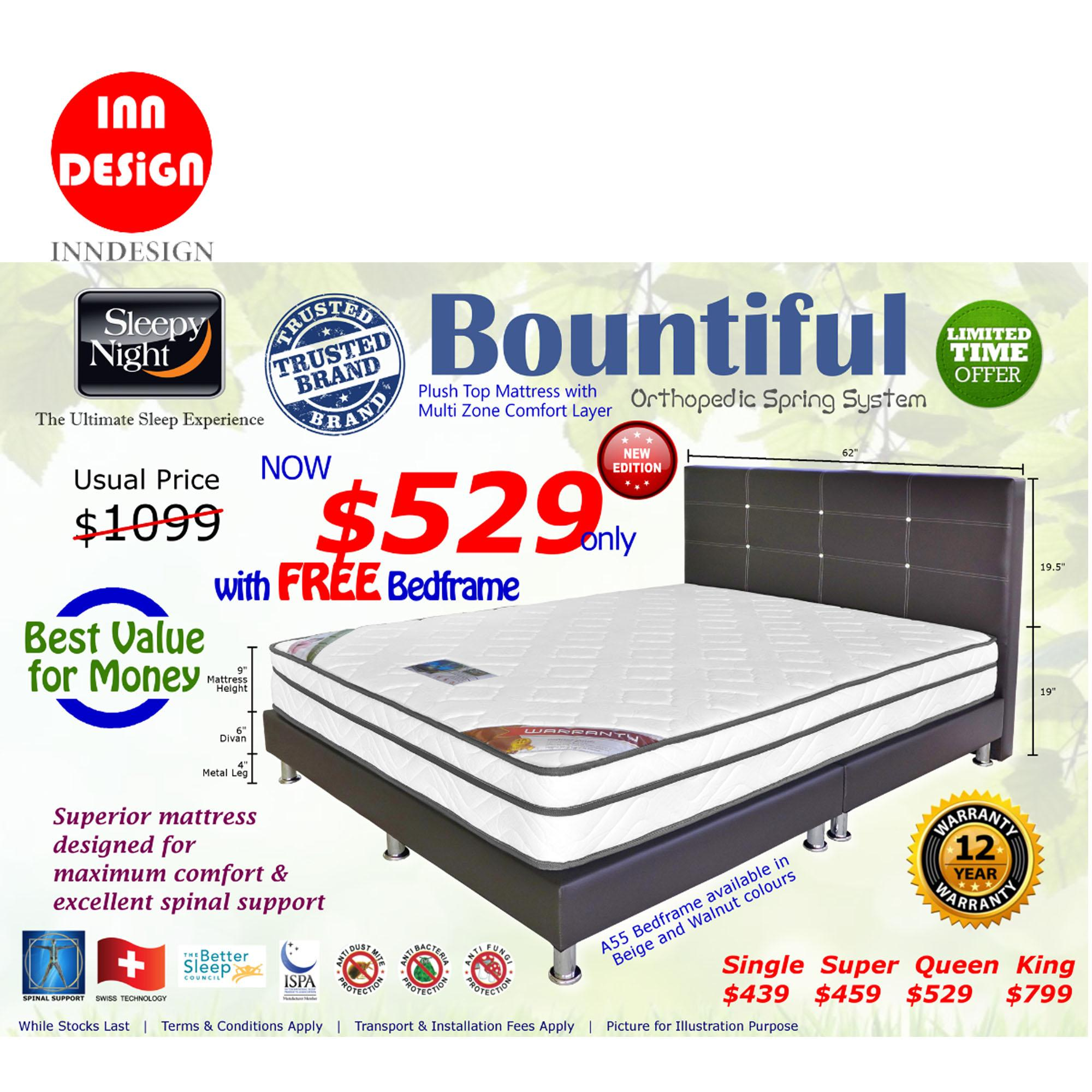 INNDESIGN Sleepy Night Bountiful Set - 9 Inch Mattress + Free BedFrame(12 Years Warranty)