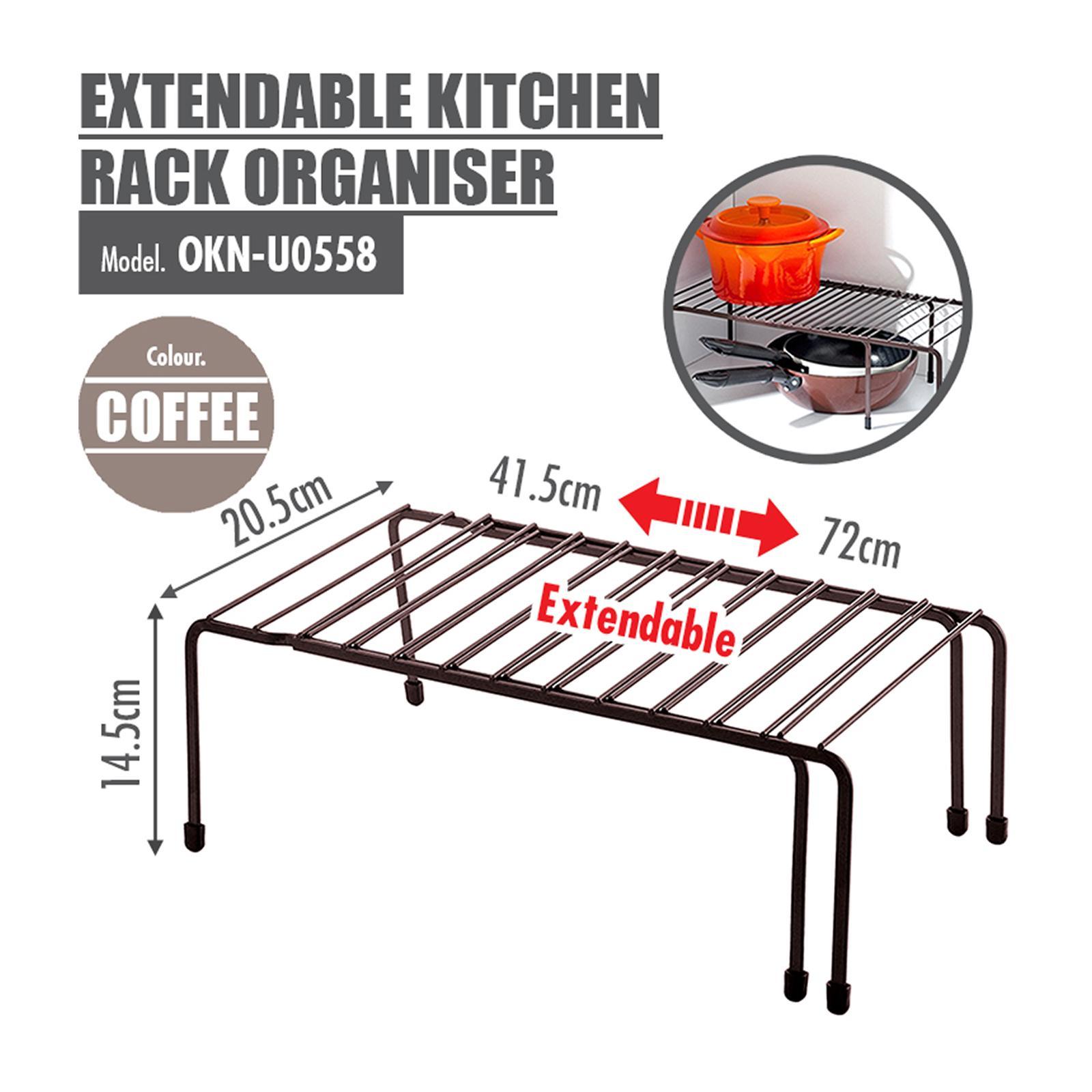 HOUZE Extendable Kitchen Rack Organiser (Black)