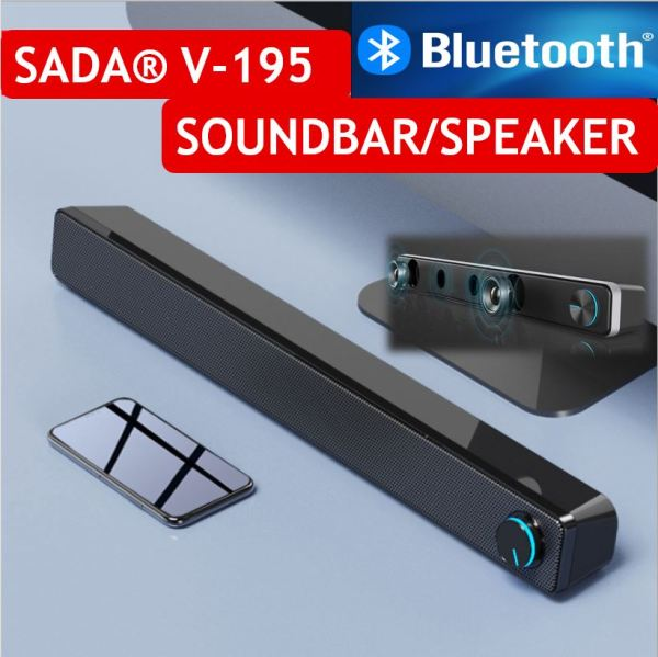★SG WARRANTY★SADA V-195 Home Soundbar Computer Speaker Household Desktop Dual Speaker 3D Stereo Surround System for PC TV