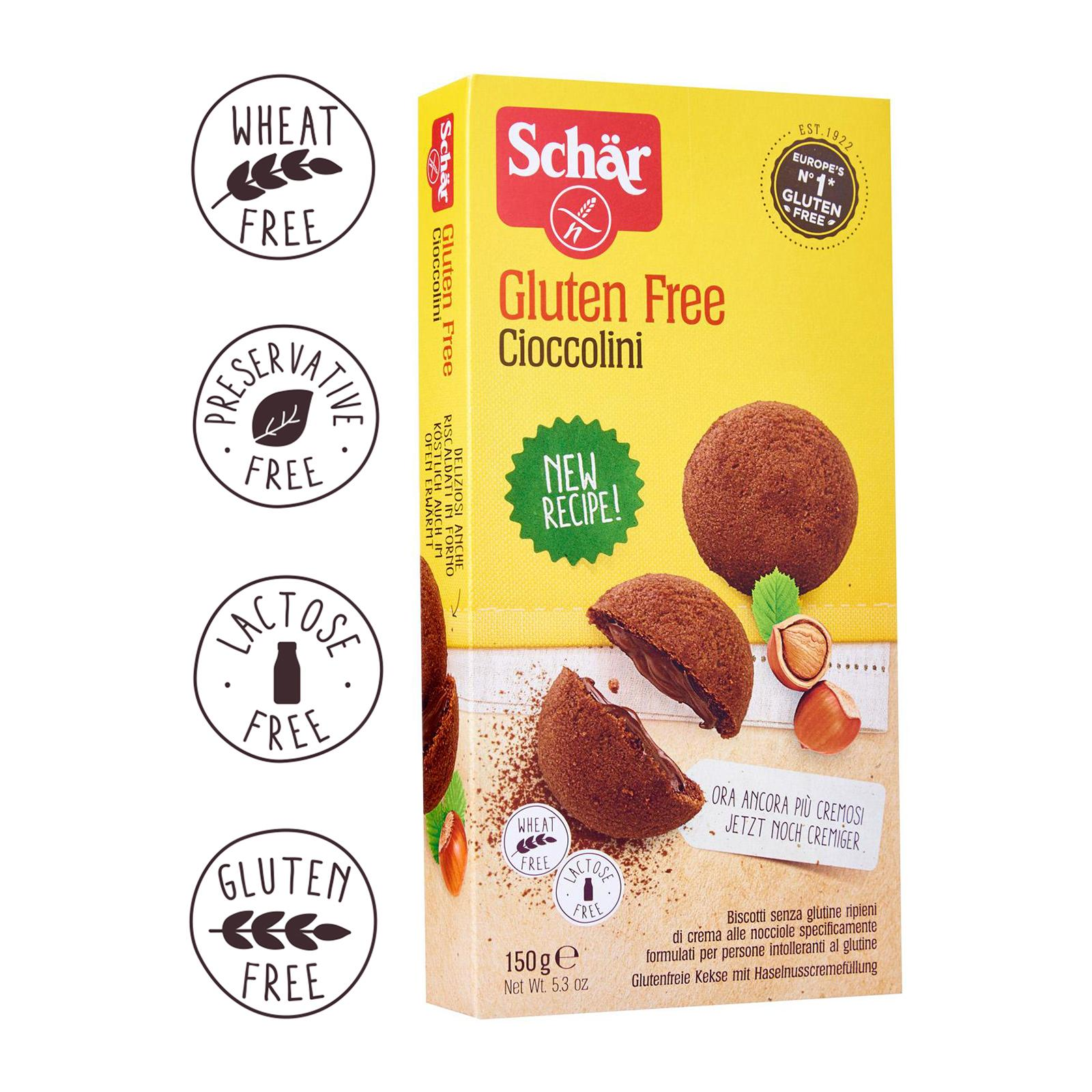 Dr. Schar Cioccolini Crumbly Shortbread Cookies with light Hazelnut Cream Filling - Gluten Free by Agora Products