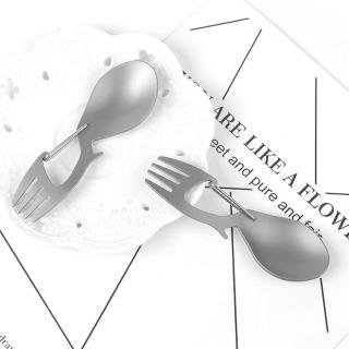 ANGUBA Dã Ngoại Bữa Ăn Tối Ngoài Trời Cắm Trại Đi Bộ Đường Dài Titan Treo Khóa Mở, Bộ Đồ Ăn Ngoài Trời Muỗng Nĩa Thìa Spork Bằng Titan thumbnail