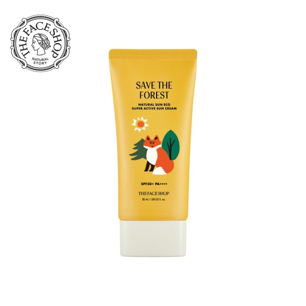 Buy THEFACESHOP Forest Friends Natural Sun Eco Super Active Sun Cream SPF 50+ PA++++ Singapore