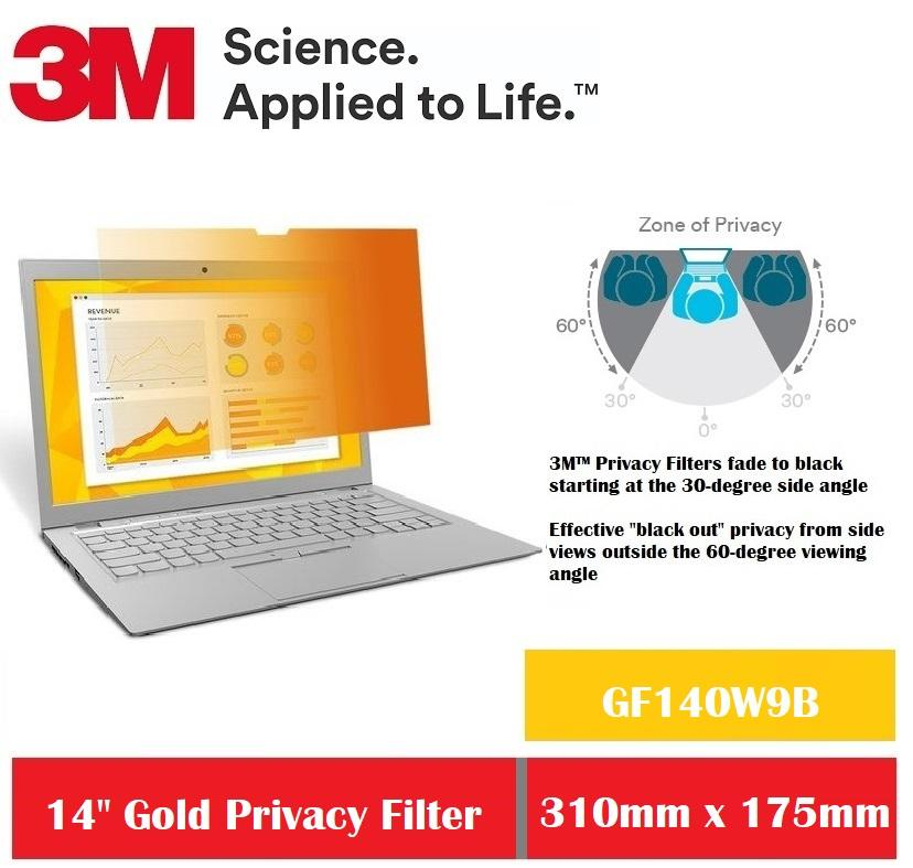 3M Gold Privacy Filter for 14 Widescreen Laptop GF140W9B
