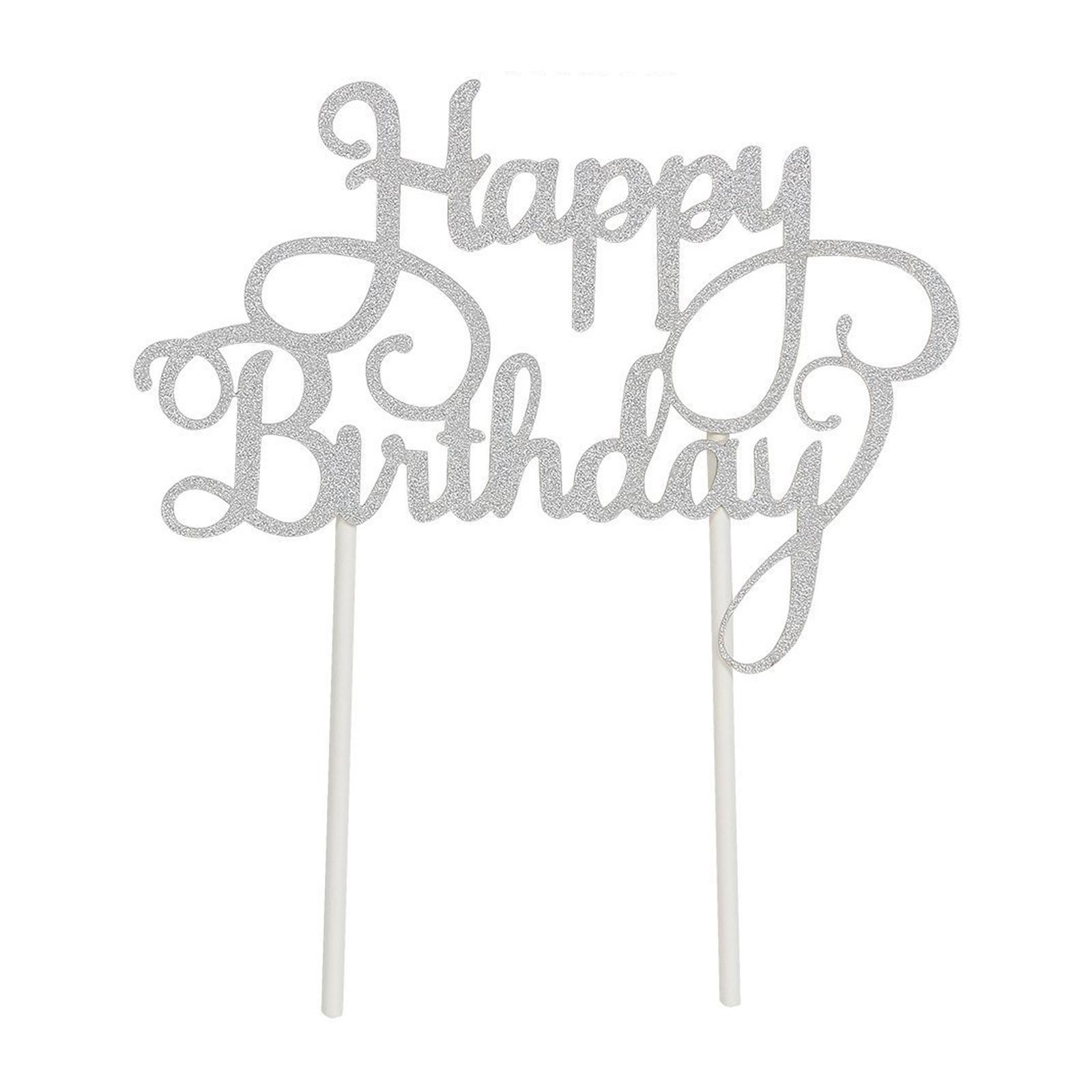 Mason Market Happy Birthday Cake Topper - Silver