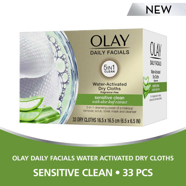 Buy Olay Daily Facials Water Activated Dry Cloths Sensitive Clean 33 pcs Singapore