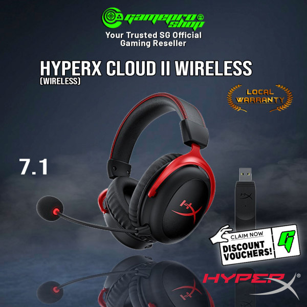 HyperX Cloud II Wireless 7.1 Surround Sound Gaming Headset (For PC/PS4) -HHSC2X-BA-RD/G (2Y)