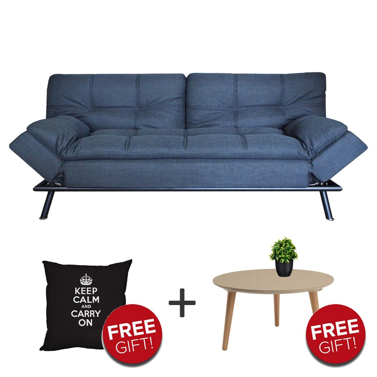Fabric 3 Seater Sofabed + Free Coffee Table + Free Hug Cushion + Free Delivery
