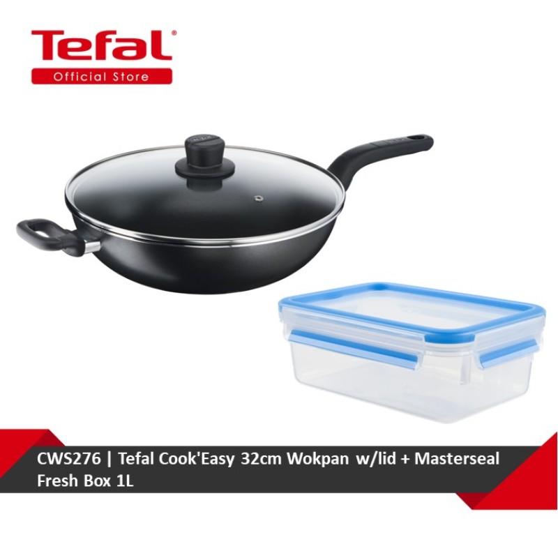 Tefal CookEasy 32cm Wokpan w/lid + Masterseal Fresh Box 1L (B50394+K30212) CWS276 Singapore