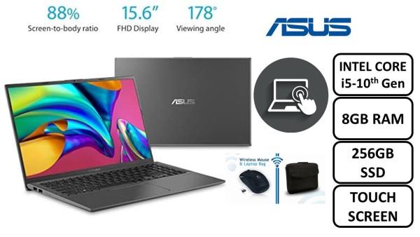 ( BRAND NEW )ASUS VIVOBOOK F512J INTEL 15-1035G1/BGA 10TH GEN DDR4 8GB RAM 256GB SSD WINDOWS 10PRO 64BIT 15.6 FULL HD GLARE TP DISPLAY TOCH SCREEN SLATE GREY COLOUR FREE NEW BAG, WIRELESS MOUSE
