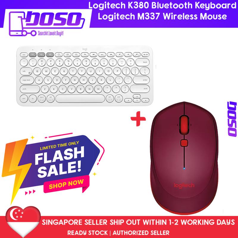 Logitech K380 Slim Multi-Device Bluetooth Keyboard (iOS, Android, OSX, iPhone) + Logitech M337 Black Compact Bluetooth Mouse (Apple Mac, Microsoft Windows) (Bundle Promo) Singapore