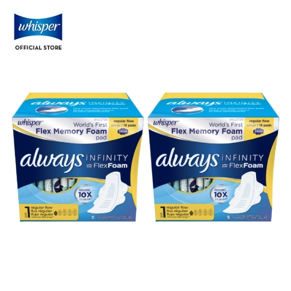 Buy [Bundle of 2] Whisper Always Infinity Pad 24cm Regular Flow with Flexi Wings 18s Singapore