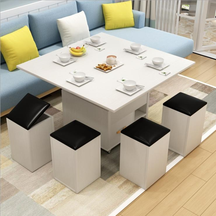 JIJI Znius Hydraulic Manual Premium Lifting Coffee Dining Table with 4 Storage Stools (1+4) (FREE Installation) - Tables / Living Room / Furniture (SG)