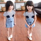 Sales Price Girls Striped Dress Denim Dress Korean Style Cotton Short Sleeved