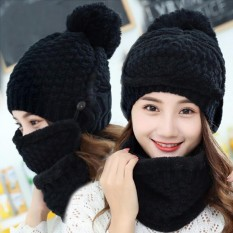 Retail 1 Set 3Pcs Winter Hat Scarf Mask Set Thick Warm Knit Outdoors Ski Beanie Hat And Scarf For Women Intl