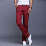 New 10 Colors Men Thin Pant Business Or Casual Style Trousers Straight Long Pants Red Wine Intl