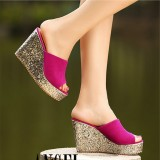 Female Drag Super High Heeled Slope With Waterproof Taiwan Shallow Mouth A Word Summer Rose Red Rose Red On China