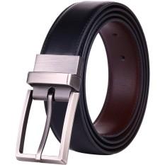 【125cm】Q-shop Men's Leather Belt,Premium Quality Reversible Rotated Buckle Belt